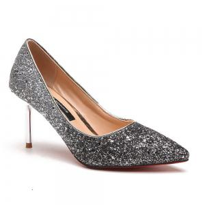 Spring and Summer New Pointed Elegant Fine Sequins Sand High Heels -
