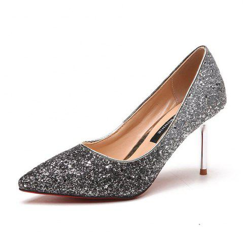Cheap Spring and Summer New Pointed Elegant Fine Sequins Sand High Heels