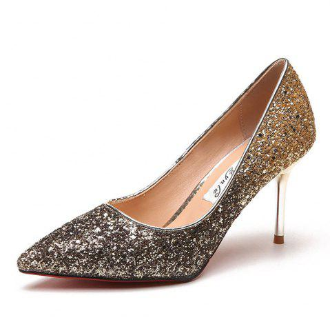 Shop Spring and Summer New Pointed Elegant Fine Sequins Sand High Heels