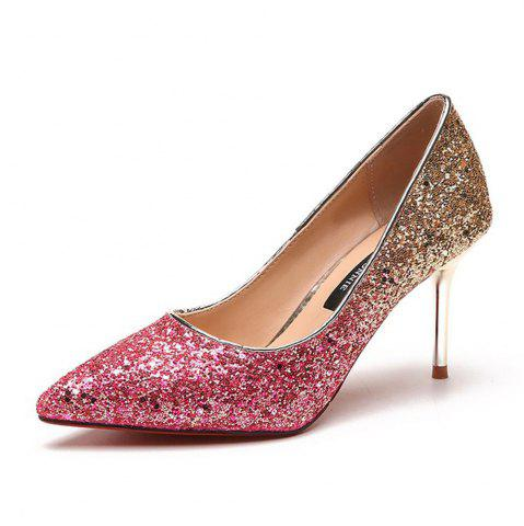 Fancy Spring and Summer New Pointed Elegant Fine Sequins Sand High Heels