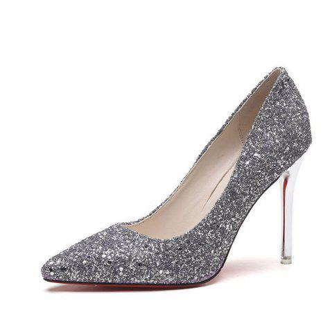 Fashion Spring and Summer New Pointed Classic Sequins High Heels