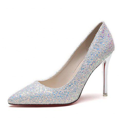 Chic Spring and Summer New Pointed Classic Sequins High Heels