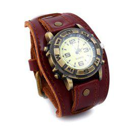 Luxury Cow Leather Bracelet Casual Sports Quartz Watch -