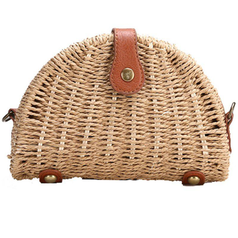 Buy Straw Semicircle Woven Beach Shoulder Messenger Bag