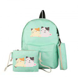 Three-piece Casual Cute College Backpack -