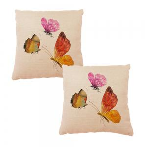 Color Butterfly Cotton Linen Material Home Decor Set Cushion Pillow Case -