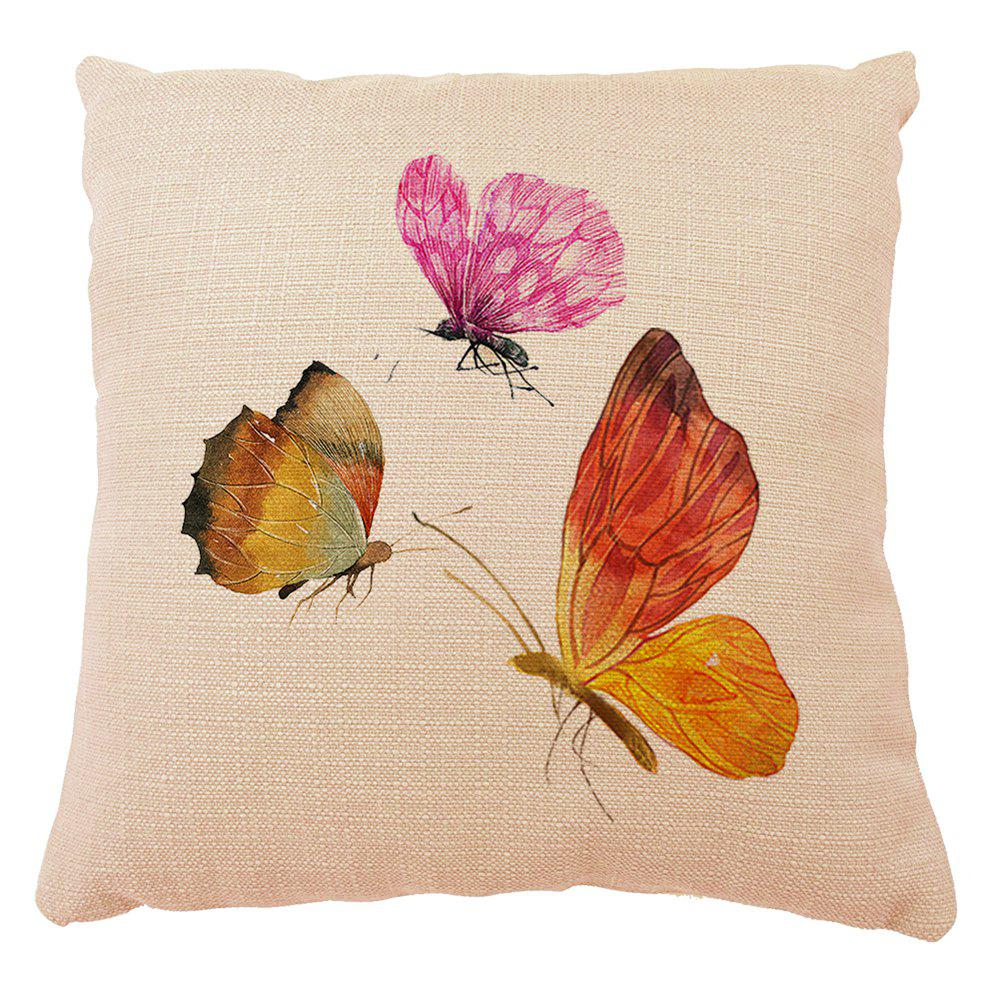 Hot Color Butterfly Cotton Linen Material Home Decor Set Cushion Pillow Case