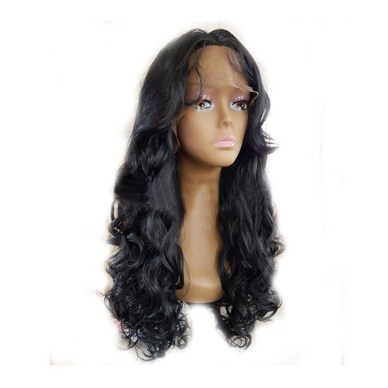 Discount Fashion Black Long Curly Hair Chemical Fiber Front Lace Wig