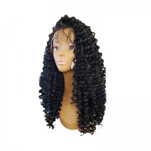 Black Small Curved Chemical Fiber Front Lace Wig -