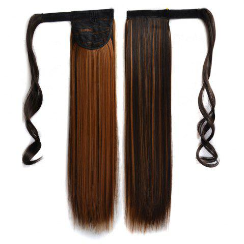 New Long Straight Clip in Hair Ponytail Hairpiece with Magic Wrap Around