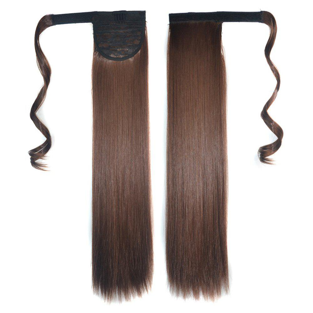 Online Long Straight Clip in Hair Ponytail Hairpiece with Magic Wrap Around