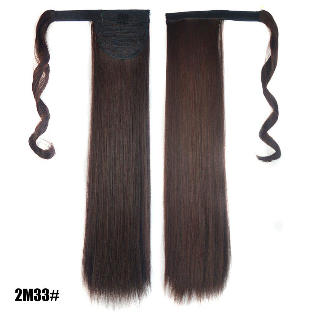 Hot Long Straight Clip in Hair Ponytail Hairpiece with Magic Wrap Around
