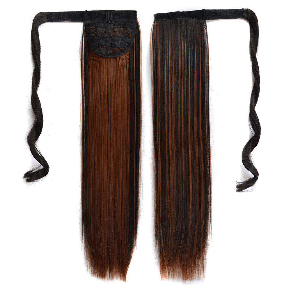 Discount Long Straight Clip in Hair Ponytail Hairpiece with Magic Wrap Around