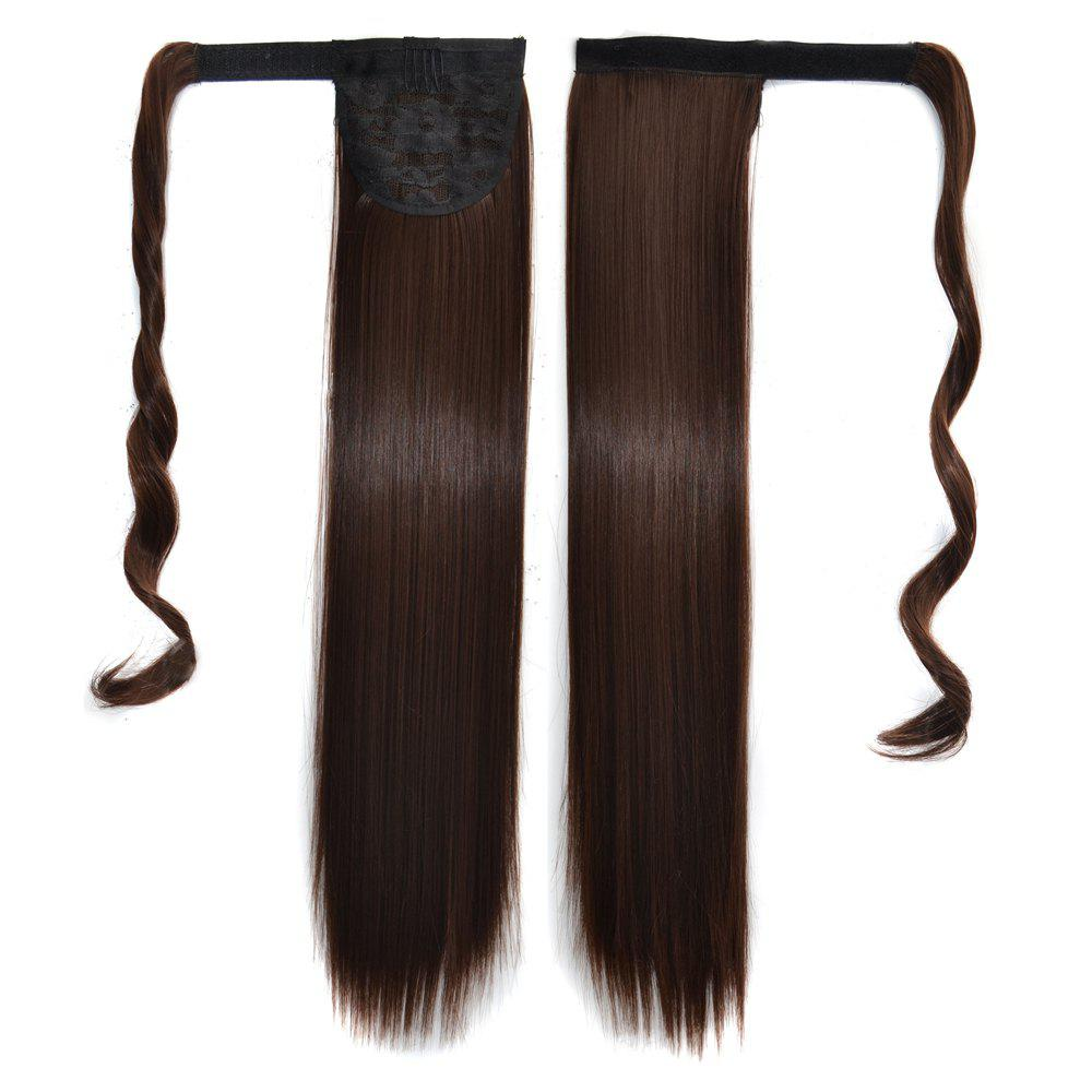 Unique Long Straight Clip in Hair Ponytail Hairpiece with Magic Wrap Around
