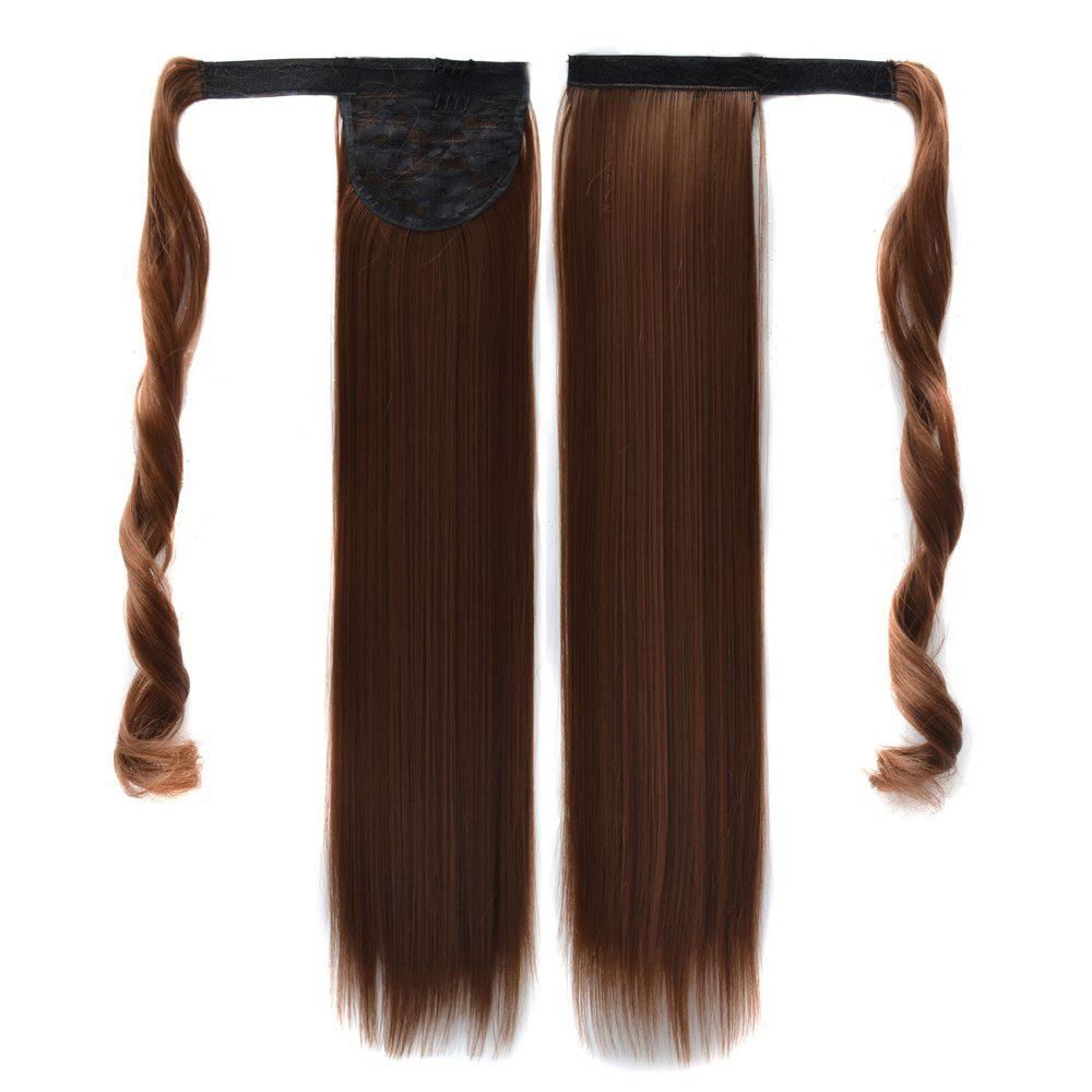 Affordable Long Straight Clip in Hair Ponytail Hairpiece with Magic Wrap Around