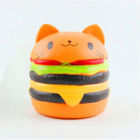 Hot Jumbo Squishy Stylish Cat Head Burger PU Stress Reliever Toy