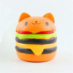 Jumbo Squishy Stylish Cat Head Burger PU Stress Reliever Toy -