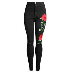 Embroider Broken Hole Elastic Force Jeans -