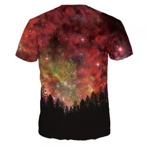 Fashion Design Starry Sky Woods Digital Printing Short Sleeve T-shirt -