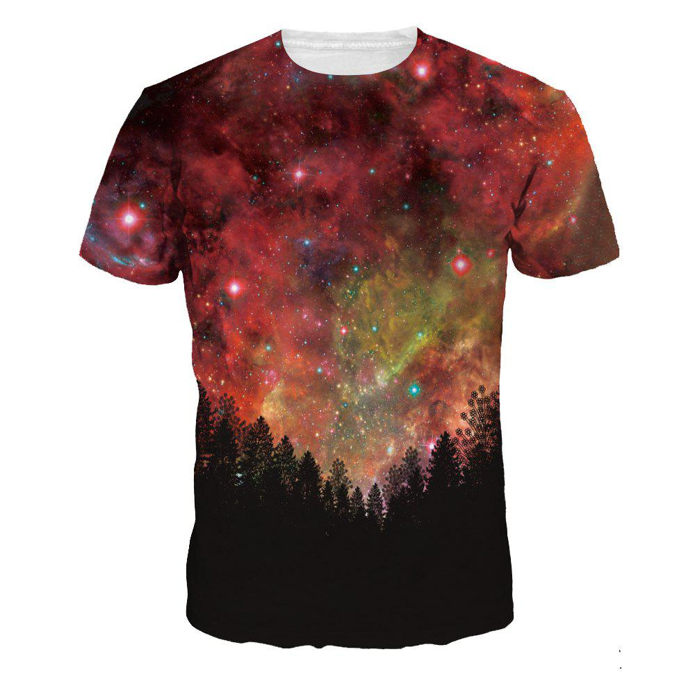 Buy Fashion Design Starry Sky Woods Digital Printing Short Sleeve T-shirt
