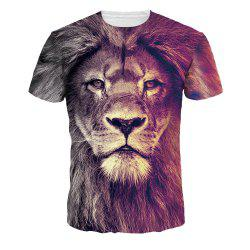 Quick-Drying Lion Digital Printing Short Sleeve Breathable T-shirt -