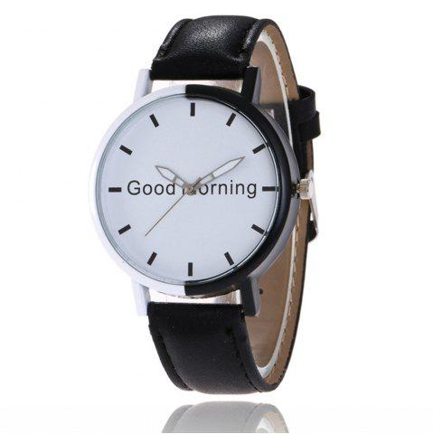 Shops Good Morning English Word Leather Strap Watch
