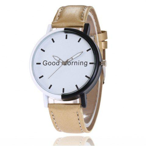 Discount Good Morning English Word Leather Strap Watch
