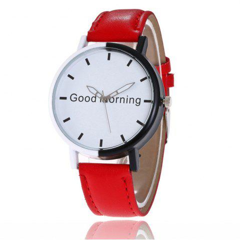 Best Good Morning English Word Leather Strap Watch