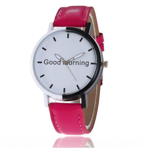 Trendy Good Morning English Word Leather Strap Watch