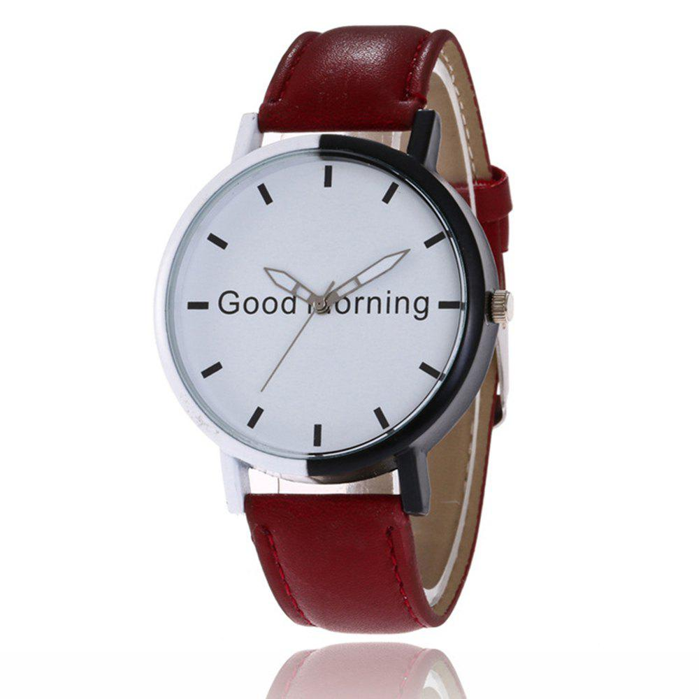 Latest Good Morning English Word Leather Strap Watch
