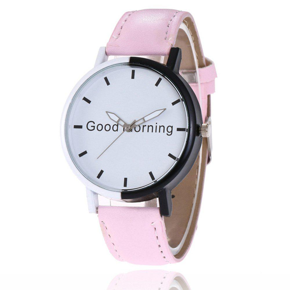 Outfit Good Morning English Word Leather Strap Watch