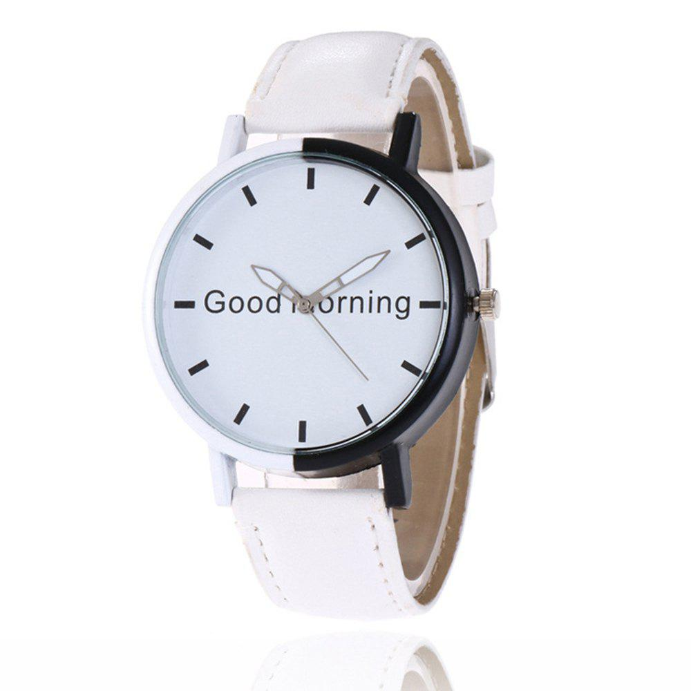 Sale Good Morning English Word Leather Strap Watch