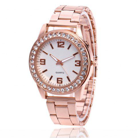 Buy Business Casual Artificial Diamond Studded Steel Strap Watch