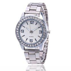 Business Casual Artificial Diamond Studded Steel Strap Watch -