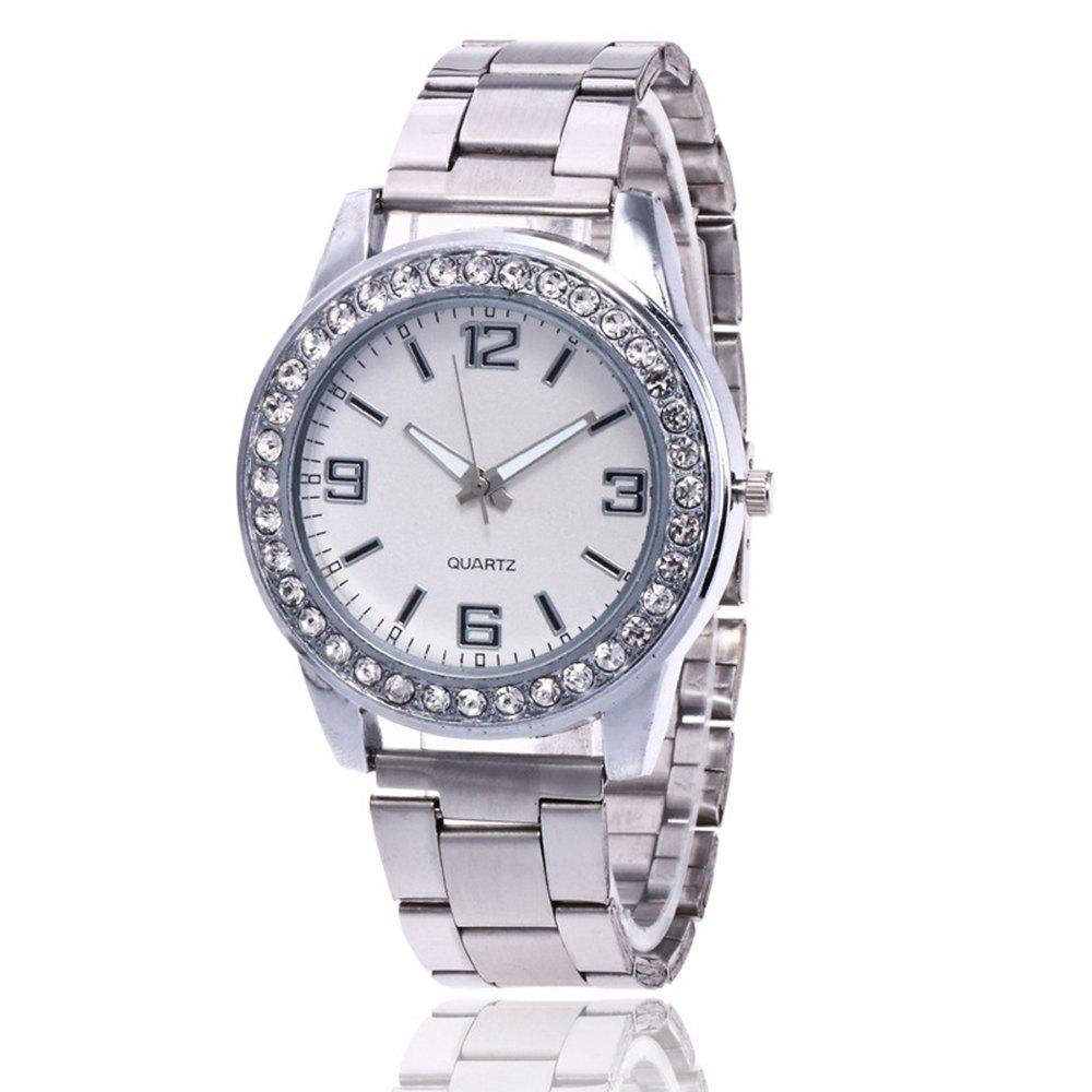 Trendy Business Casual Artificial Diamond Studded Steel Strap Watch