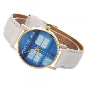 Window Pattern Leather Band Leather Men Watch -