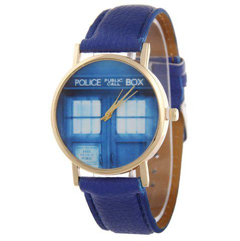 Latest Window Pattern Leather Band Leather Men Watch
