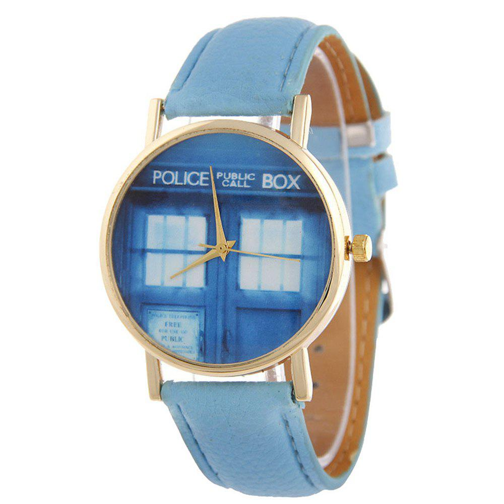 Sale Window Pattern Leather Band Leather Men Watch