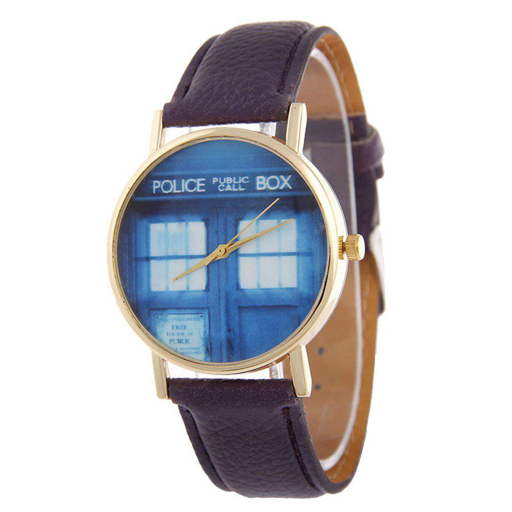 Hot Window Pattern Leather Band Leather Men Watch
