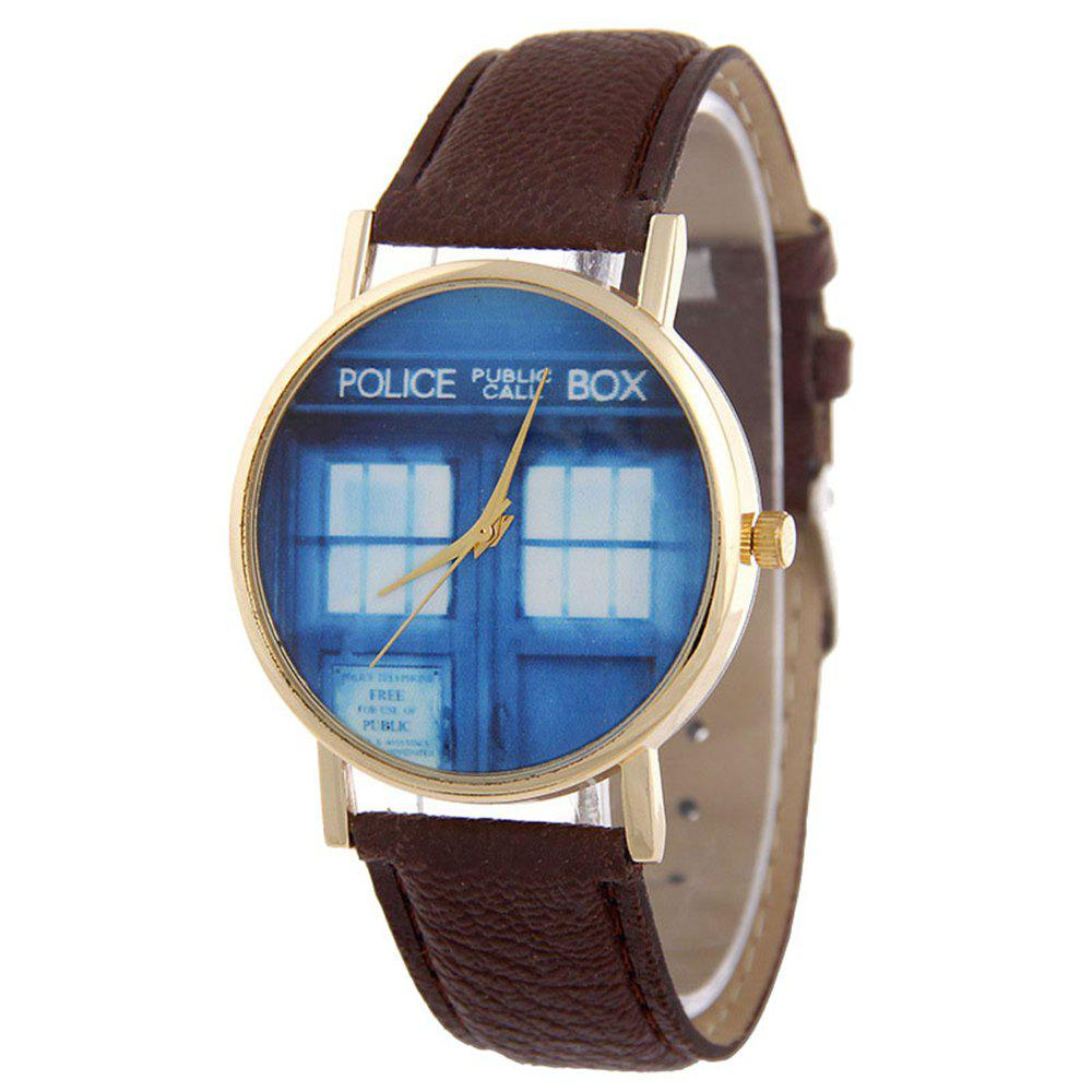 Shop Window Pattern Leather Band Leather Men Watch