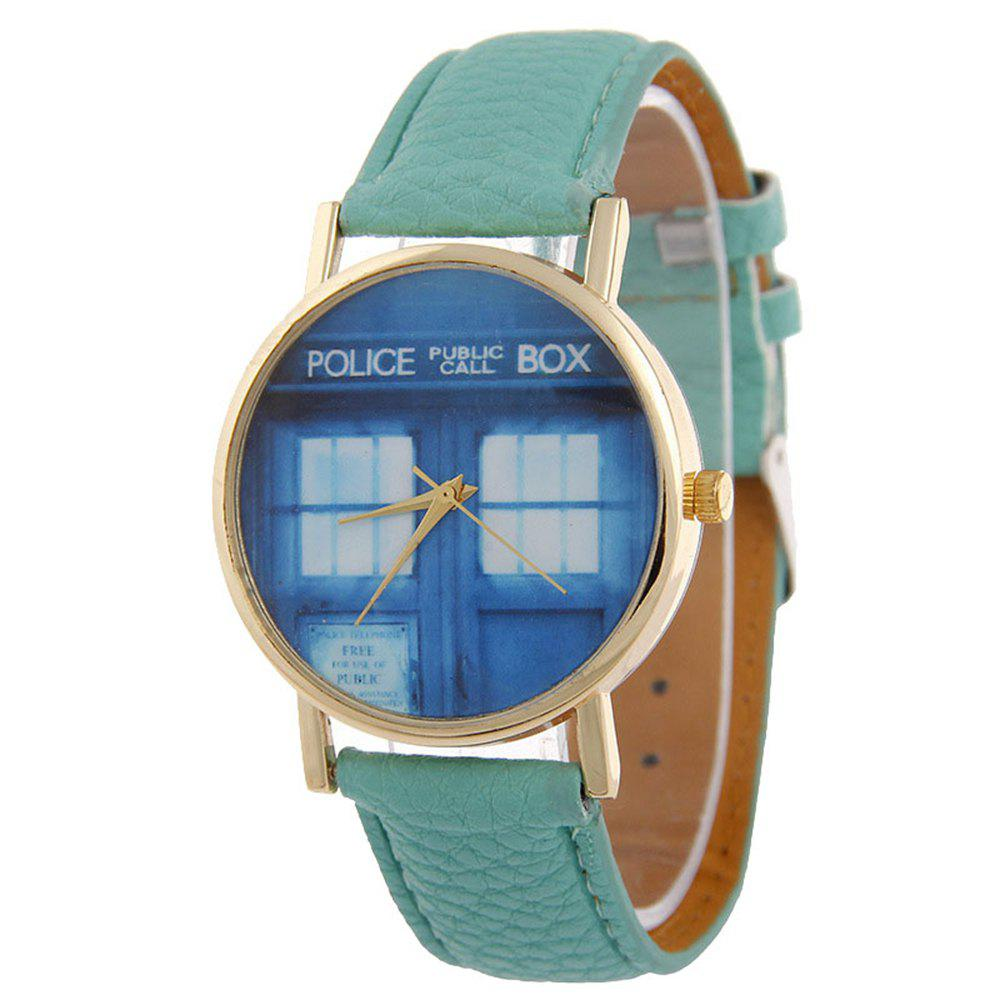 New Window Pattern Leather Band Leather Men Watch