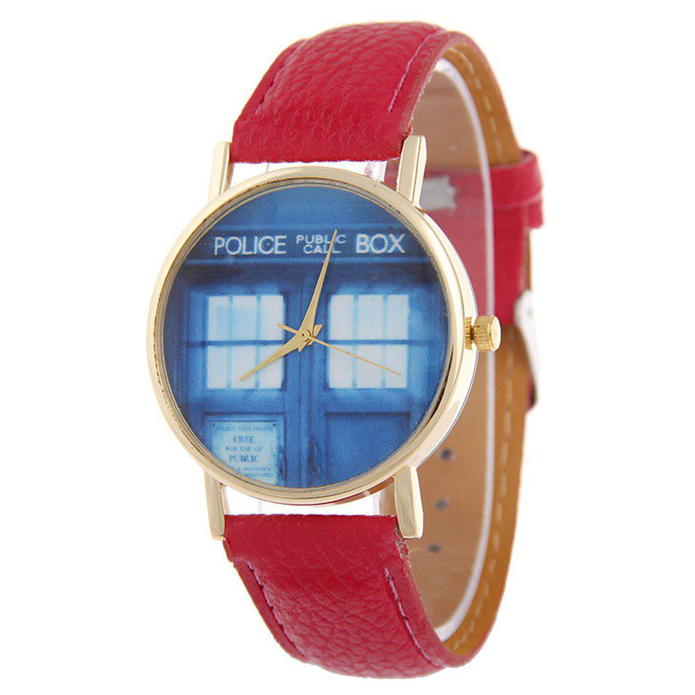 Affordable Window Pattern Leather Band Leather Men Watch