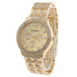 Geneva Stainless Steel Fashion Diamond Lady Watch -