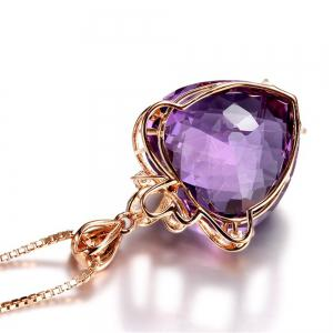 Gold Colored Gem Natural Amethyst Necklace -