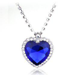Big Ocean Heart Crystal Pendant Necklace -