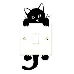 New Kitten Bedroom Switch Wallpaper Waterproof Removable 3D Wall Sticker -