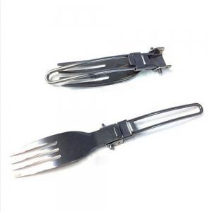 Stainless Steel Outdoor Camping Tableware Trip Folding Knife and Fork Three Piece Set -