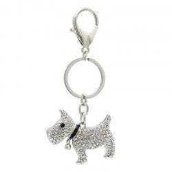 Creative Cute Dog Shape Decoration Rhinestone Key Chain -