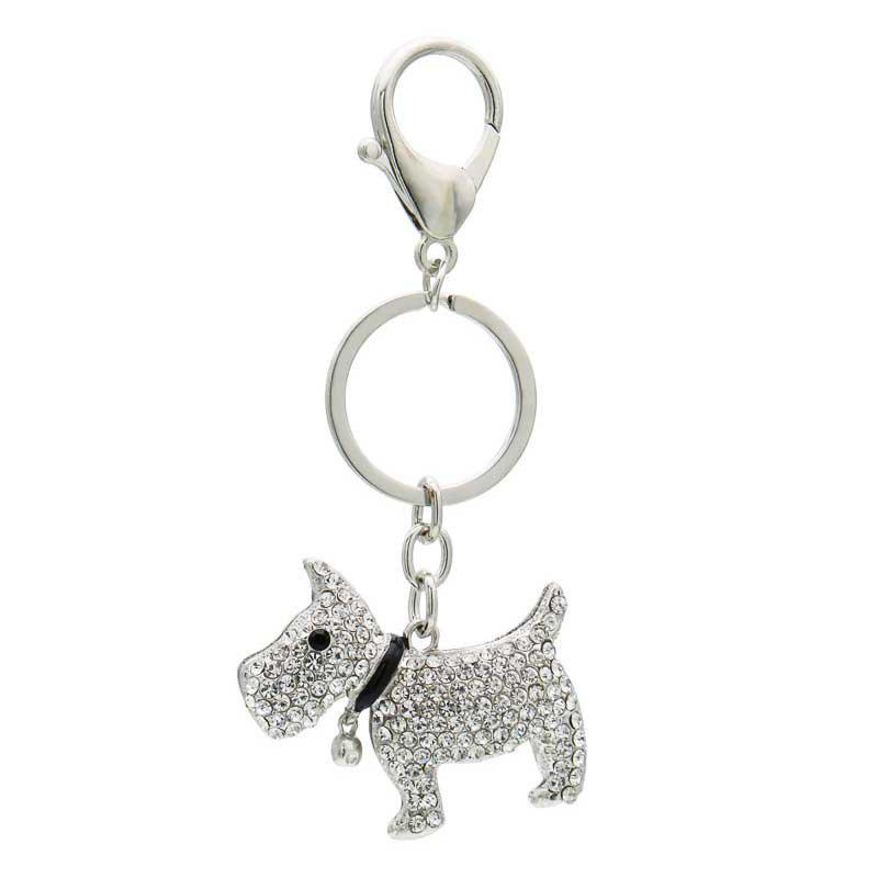 Online Creative Cute Dog Shape Decoration Rhinestone Key Chain