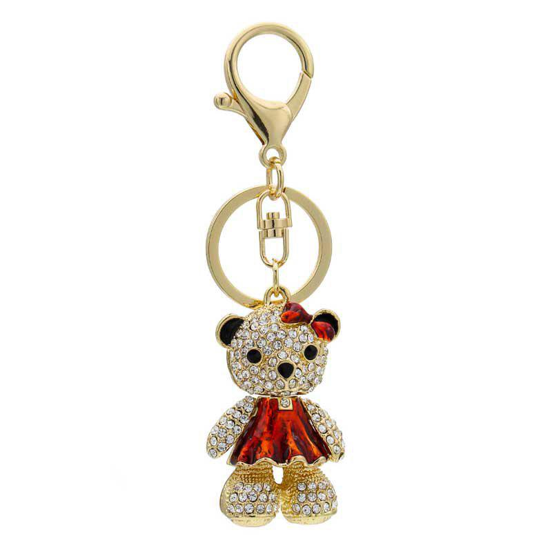 Affordable Creative Bear Shape Decoration Rhinestone Key Chain